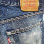 リーバイス503 レギュラージーンズ ヒザ穴のリペア、太ももの補強リペア
