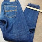 ヌーディージーンズ テーパード加工 スソ幅16センチ 内股Wステッチ 特殊なスソ縫い仕様