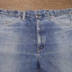 リーバイス606ビッグE ビンテージ 左右前ポケット全体の解体リペア、スレキ(袋布)の交換 左右お尻の全面補強