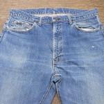 リーバイス505 66前期モデル 前ポケットの解体リペア、スレキ(袋布)の交換、リベット表の再利用、股の解体リペアなど、、、