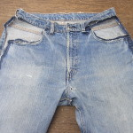 リーバイス505 66前期モデル 前ポケット解体リペア、スレキ(袋布)交換、リベット表再利用、前股リペア、内股~お尻~脇までの全面補強